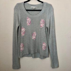 LC Lauren Conrad Blue & Pink Flower Sweater Small